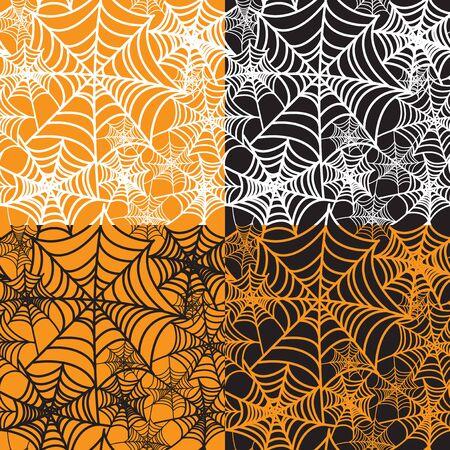 spinnennetz: Satz von vier Halloween hintergrund