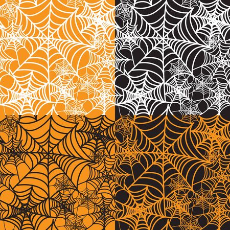 spiderweb: set of four halloween backgrounds Illustration