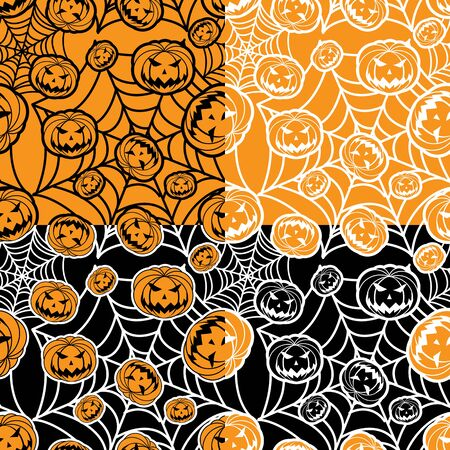 halloween wallpaper from four variants of the background color Vector