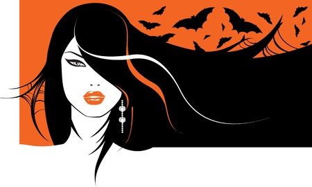 portrait of a glamour halloween girl with bats in her hair Illustration