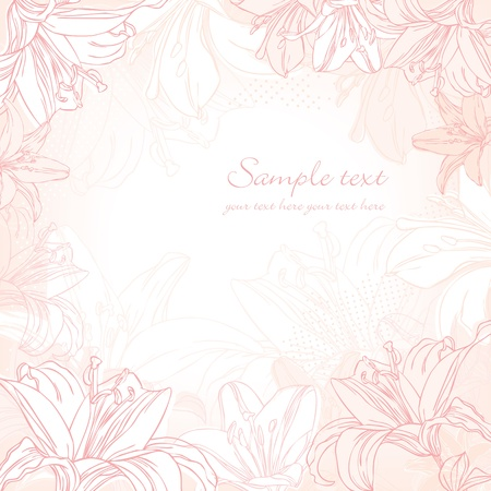 background with white lily Vector