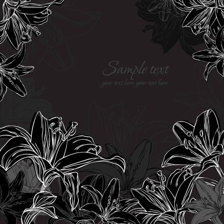 black and white background with lilies Vector
