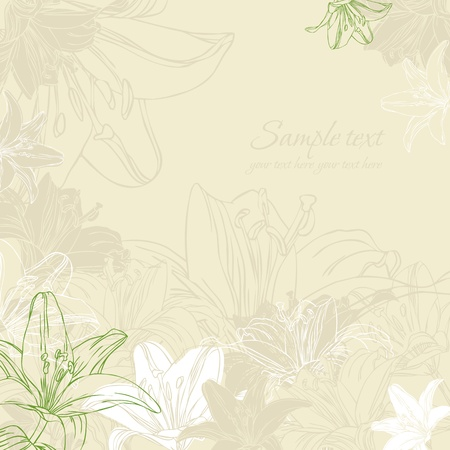 retro background with lily  Illustration