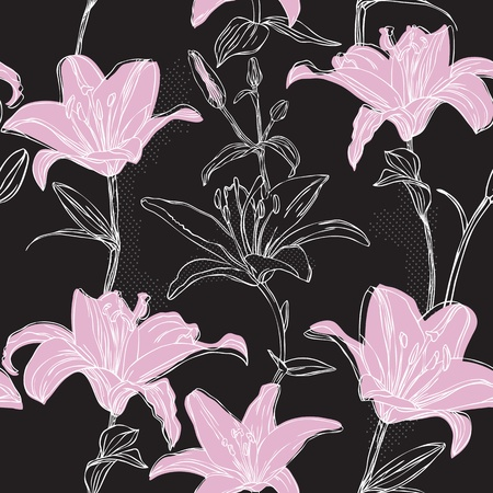 pink lily: floral seamless pattern with lily Illustration