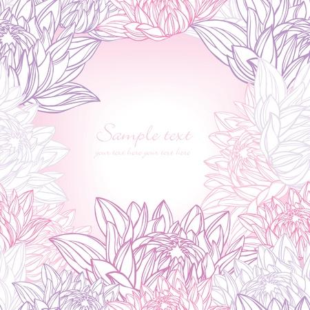 lirio acuatico: Dibujado a mano lirio de agua floral frame