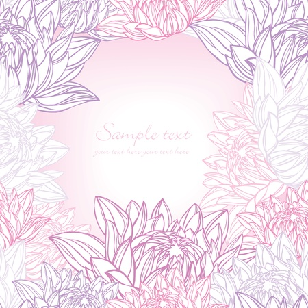 Hand drawn water lily frame floral Vector