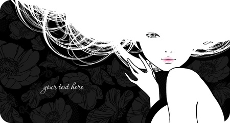 woman back of head: Background with silhouette beautiful girl