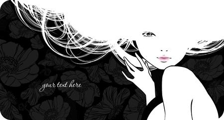 woman back of head: Sfondo con ragazza bella silhouette Vettoriali