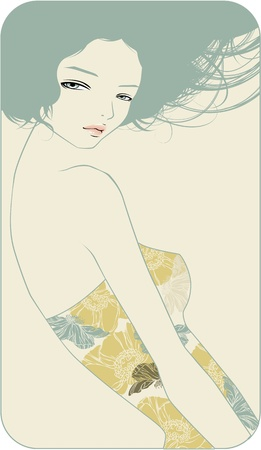 beautiful girl in a flowered dress Illustration
