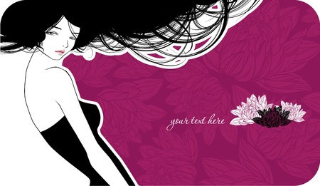 Violet wedding card with beautiful girl Vector