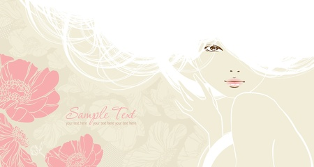background with beautiful girl Vector