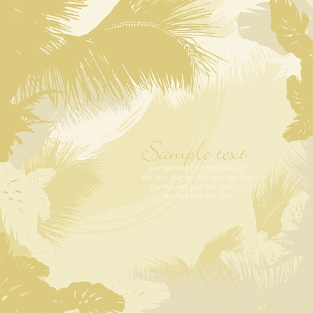 decorative frame of leaves of tropical trees and palms Vector