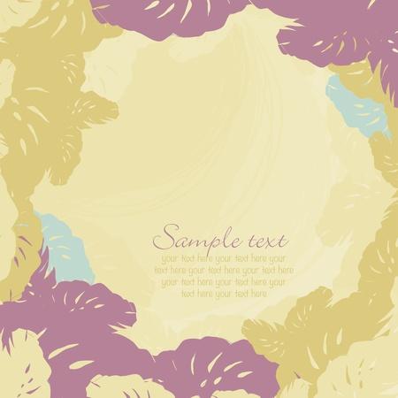 luau party: marco decorativo de hojas de madera tropical Vectores