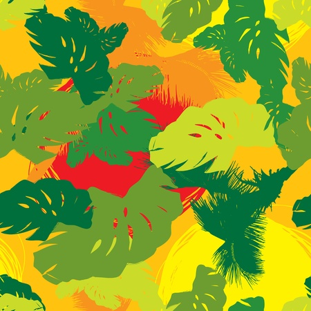 pattern from the leaves of tropical trees and palms Vector