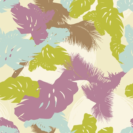 tropical shrub: pattern from the leaves of tropical trees and palms Illustration