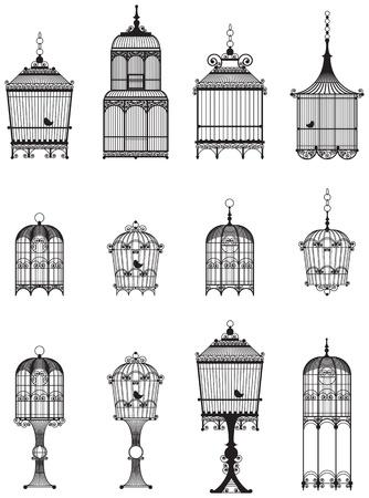 serie di gabbie per uccelli ornamentali d'epoca con gli uccelli