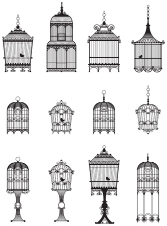 set of ornamental vintage birdcages with birds