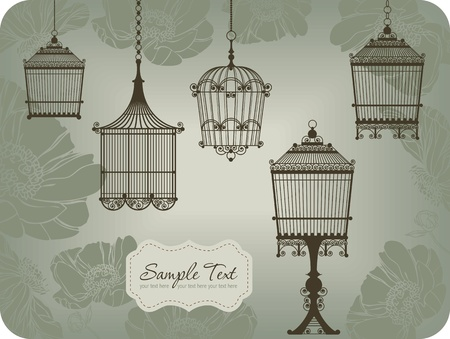 bird cage: vintage card with five birdcages