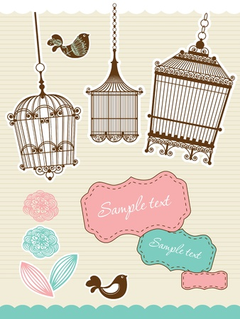 set for scrapbooking with vintage birdcage Vector