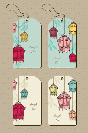bird pattern: set of tags with vintage birdcages Illustration