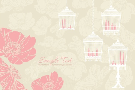 Vector pattern for wedding with birdcage Vector