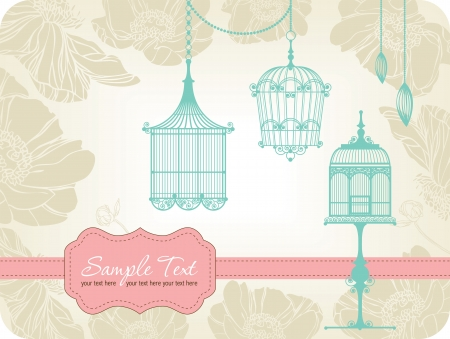 canary: vintage card with birdcages in retro style