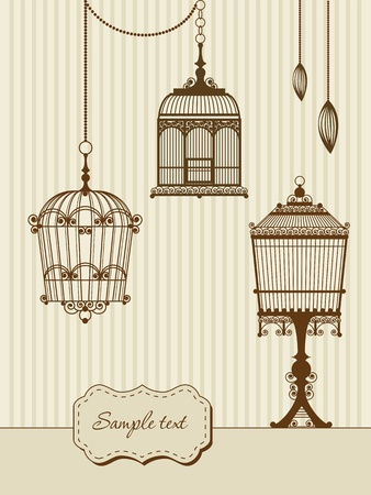 canary bird: vintage card with birdcages