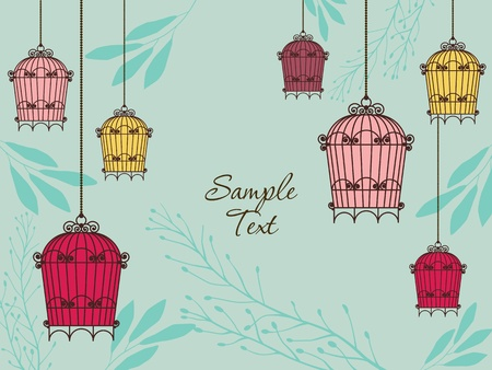 vintage card with birdcages in retro style