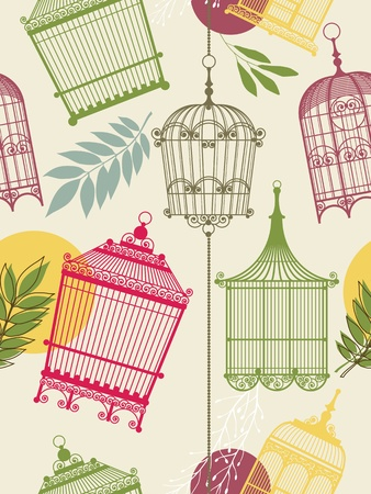 vintage pattern with birdcages and leaves Illustration