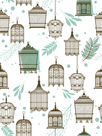 Vector pattern with vintag birdcage Illustration