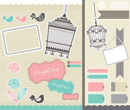 set for scrapbooking with vintage birdcage and frames