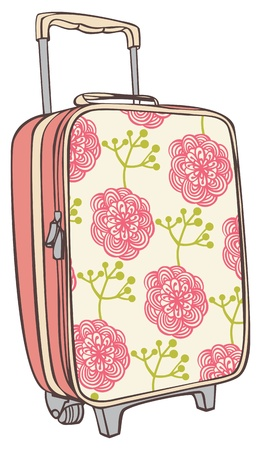 a snake in a bag: suitcases for traveling with a flower pattern Illustration