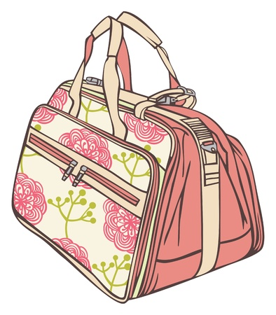 bag for traveling with a flower pattern Illustration