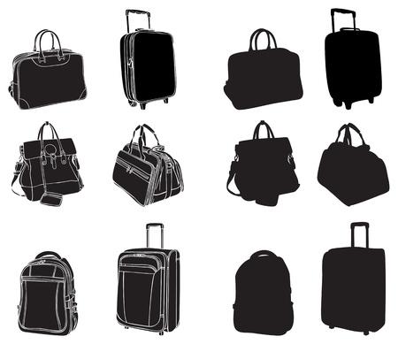 ensemble de silhouettes noires sacs et valises Vecteurs
