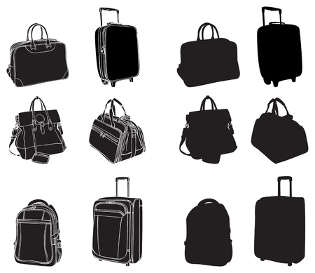 set of black silhouettes bags and suitcases Illustration