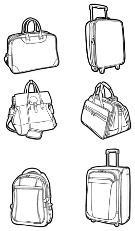set of white silhouettes bags and suitcases