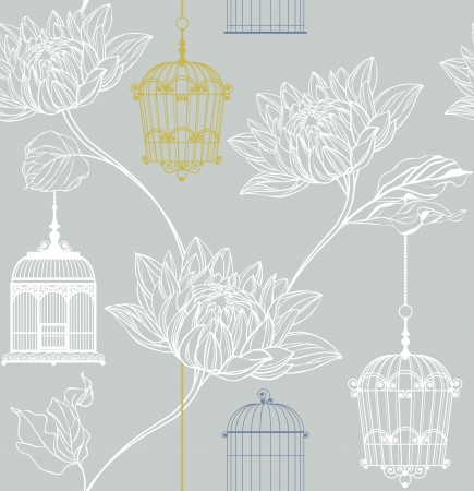 pattern of flowers and birdcage on a gray background