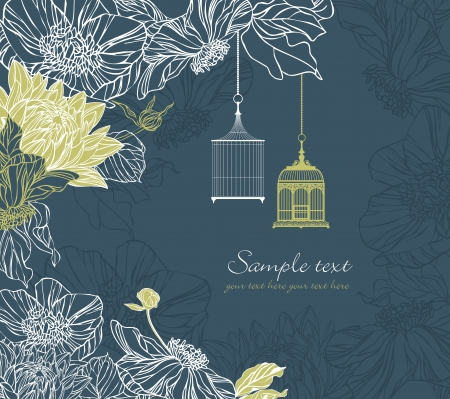background with birdcage and flowers on retro style