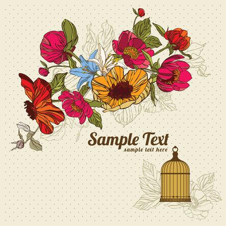 carte d'invitation avec flowersin et cage à oiseaux