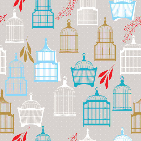 Vintage birds and birdcages pattern  Vector