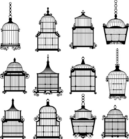 set of ornamental vintage birdcage