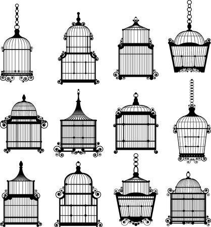 set van sier vintage vogelkooi