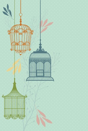 bird cage: invitation card with vintage birdcages and leaf vector  Illustration