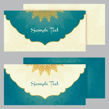arabic motif: greeting cards with floral motifs in east style  Light gold background in persian style  Template design for wedding invitation