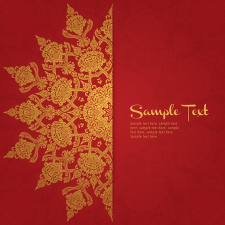 red background in persian style  Template design for wedding invitation