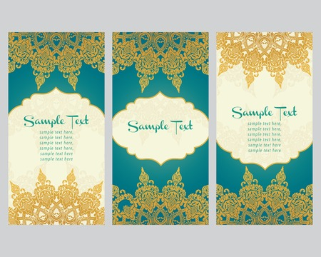 greeting cards  in east style  Light gold background in persian style  Template design for wedding invitation  Vector