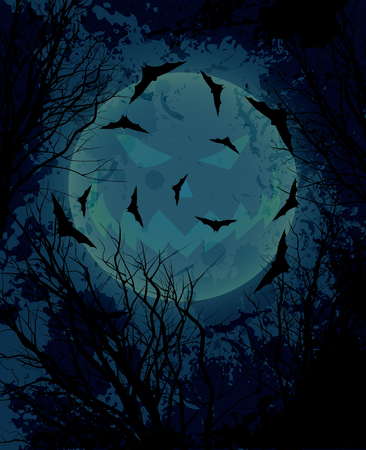 Halloween background with  moon  illustration vector eps10 Vector