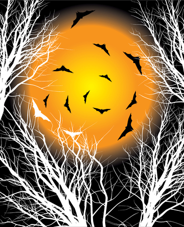 Halloween background with moon illustration Vector
