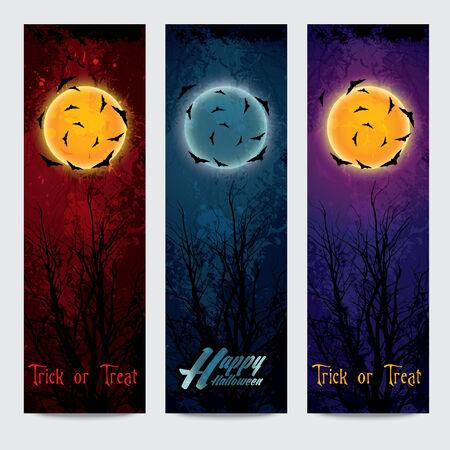 Halloween vertical banners set with  moon  Vector