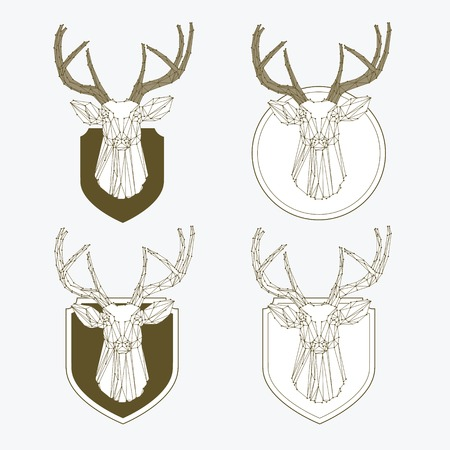roe deer: Set of vintage hunting and fishing labels and badges